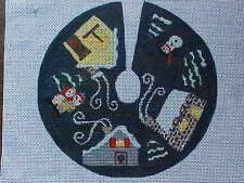 Needlepoint Hand Stitch Painted Canvas Bees Knees 18 Count Christmas Tree Skirt