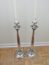 "Pr 24"" CANDLESTICKS Silverplate Wrapped X-Base Acanthus Leaf Decorator Oversize"