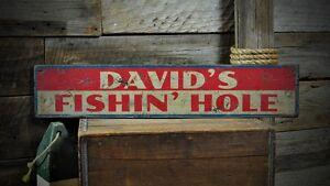 Custom Lake House Fishin Hole Sign - Rustic Hand Made Vintage Wooden