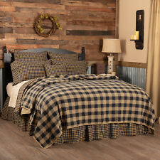 VHC Primitive Cotton Coverlet Bedspread King Queen Twin Tan Black Checkered