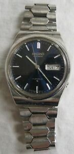 Seiko Automatic 17j Wristwatch Stainless 6309-8150 Blue Dial Vintage