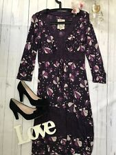 Mantaray Size 10 purple floral relaxed day casual dress long sleeve GC autumn