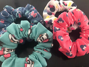 Handmade Disney Minnie Mouse Print Scrunchies Pack Of 4 Standard Size