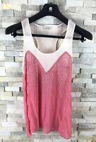 Jack Wills Ladies Size 10 Pink Embellished See Through Lightweight Top Vest Silk