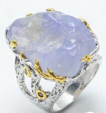 bague imposante argent 925 et OR 18k chalcedony bleu griffée + rhodolite T57