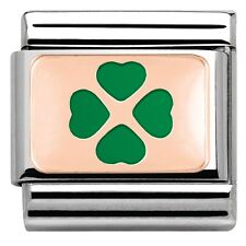 NEW GENUINE NOMINATION CLASSIC Enamel & Rose-Gold Green 4-Leaf Clover luck Charm