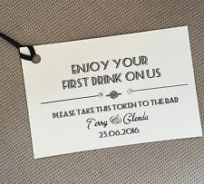 10 x Handmade Personalised First Drink Favour Tags Tokens Wedding with ribbon