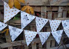 Handmade bunting -Black white and gold - photography, wedding, baby, nursery