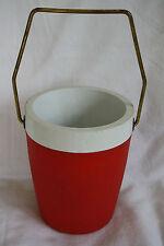 Vintage Weinkühler Eiswürfelbehälter Lederoptik 60er Jahre rot
