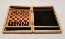 60s Vintage Chess Set Wooden USSR Small Mini Travel Box Board BRAND NEW! RARE!