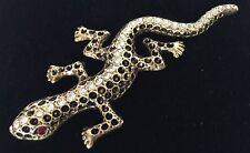 Vintage Lizard Brooch Gold Tone Rhinestone Enamel Salamander Gecko Jewelry Pin