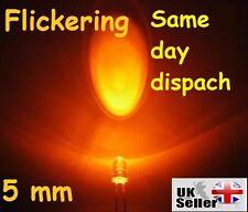 5 pcs, 5mm Orange Candle Light Flicker Ultra Bright Flickering LED Leds Lamp UK