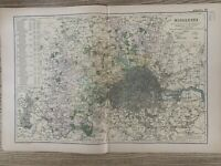 1899 MIDDLESEX ORIGINAL ANTIQUE MAP BY G.W. BACON 121 YEARS OLD