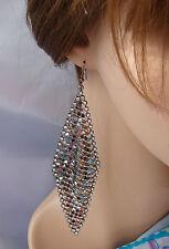 Orecchini lunghi strass cristalli Nero,cerimonia ELEGANTE Moda donna,idea regalo