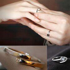 New Lover Silver Crystal Couple Rings Her and His Promise Ring Band Adjustable