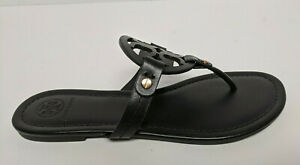 Tory Burch Miller Thong Sandals, Black Leather, Women's 8.5 M