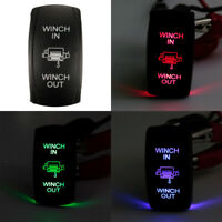 1X(7Pin Laser Momentary Rocker Switch Winch In Winch Out 12V ON-OFF-ON LED A8A6