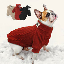 Dog Knitted Jumper Chihuahua POLO Neck Sweater Winter Warm Pet Puppy Cat Clothes