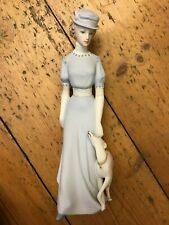 Royal Dux Bohemia Bisque Figurine of a Lady with a greyhound/whippet