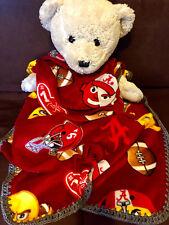 "Alabama Crimson Tide Emoji College Football Crochet Edged Fleece Blanket 36X30"""