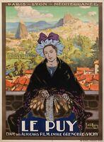 Affiche Originale - De la Nezière - Le Puy en Velay - Compostelle Auvergne 1925