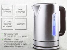 Wasserkocher mit Digitalanzeige 1,7L 2200 Watt Edelstahl Temperaturkontrolle