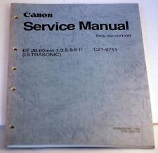 Canon Lens Service Manual EF 28-80mm f/3.5-5.6 II Ultrasonic C21-9751 (1993)