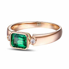 18ct Rose Gold Natural Colombian Emerald & Diamond Ring VS Beauty