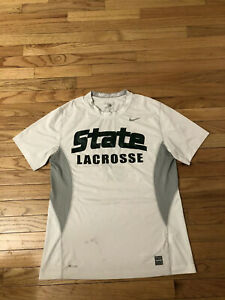 Michigan State Spartans NCAA Nike Fit Team Issued Used Men's Lacrosse Shirt L