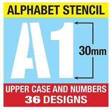 """30 Mm Letras Del Alfabeto Stencil alto/números (1.18"""") 3 x Hojas Moderno capitales"""