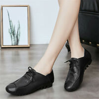 Women's  Flat Casual Lace Up Round Toe Loafers Soft Sneakers Walking Shoes Size