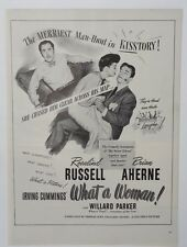 Original Print Ad 1943 Movie WHAT A WOMAN Irving Cummings Rosalind Russell