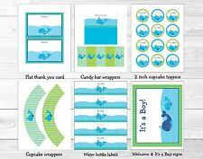 Lil Blue Whale Nautical Baby Boy Printable Baby Shower Party Package