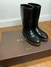 Gucci Authentic Rain Boots Shoes Black 202752 1060 - (GUCCI Size 8; 8.5 US)
