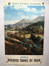 Original 1960 Discover France By Train - French Travel Poster - Lourdes