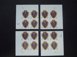 #3784a 37c Purple Heart Serpentine Die Cut 10 3/4 x 10 1/4 Matched Set MNH OG