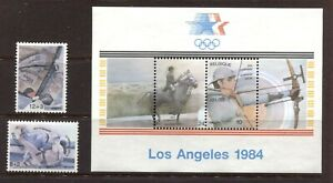 BELGIUM 1984, LOS ANGELES OLYMPICS, Scott 1166,B1029-B1030, 2 + S/S, MNH