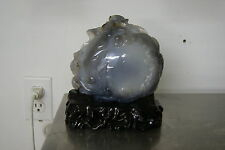 Chinese Water Agate or Enhydro Carving of Swimming Fish and Pond Jade Hardstone