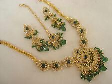gold tone green stone BEAUTIFUL  Kundan Necklace set with Earring &tikka 3400G