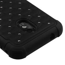 Sprint Samsung Galaxy S2 4G Hybrid Spot Diamond Case Skin Cover Black