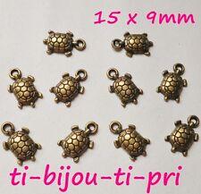 LOT de 12 PENDENTIFS BRONZE perles breloque TORTUES création bijoux