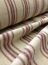 Grain Sack Fabric - Cream Fabric w/12 Burgundy Stripes