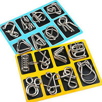 16 Pcs Metal Wire Puzzle Toy Brain Teaser Game Mind IQ Test Magic Ring Kids Gift
