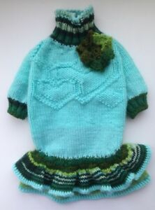 Handknit woolblend turquois dog dress/coats and jackets/ pet clothes/dog fashion