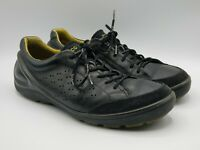 Ecco Biom Mens Black Leather Suede Casual Lace Up Sneakers Shoes Size 42 EU 9 US