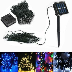 50 100 200 LED Solar Lichterkette Kette Weihnachtsbaumkette Party Garten Außen