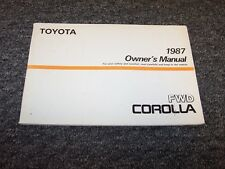 1987 Toyota Corolla Sedan Owner Owner's Operator User Guide Manual DX LE 1.6L