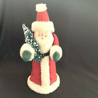 Vintage Santa Claus Christmas Tree Topper 14 Inch Cone Figure 1980's