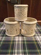 3 Pierced Porcelain Votive Holders.One Lenox Two Unmarked