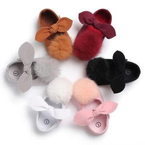 Newborn Baby Girl Pom Pom Crib Shoes Anti-Slip PreWalker Trainers Size 0-18 M